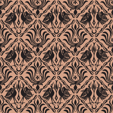 Seamless woodblock printed ethnic damask pattern. Traditional European folk motif with cranes and florals, taupe brown on beige background. Textile or wallpaper print.