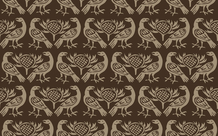 Seamless woodblock printed ethnic pattern. Traditional European folk motif with ravens and thistles, beige on taupe brown background. Textile or wallpaper print.