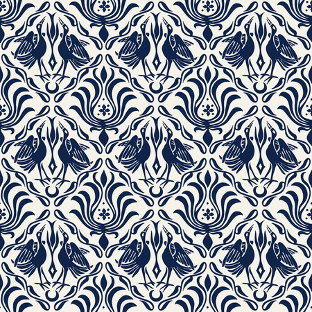 Seamless indigo dye woodblock printed ethnic damask pattern. Traditional European folk motif with cranes and florals, navy blue on ecru background. Textile or wallpaper print.  イラスト・ベクター素材