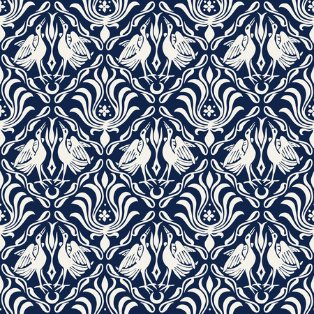 Seamless woodblock printed ethnic damask pattern. Traditional European folk motif with cranes and florals, ecru on navy blue background. Textile or wallpaper print. Иллюстрация