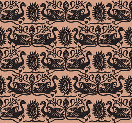 Seamless woodblock printed ethnic pattern. Traditional European folk motif with gees and floral arabesques, taupe brown  on beige background. Textile or wallpaper print.