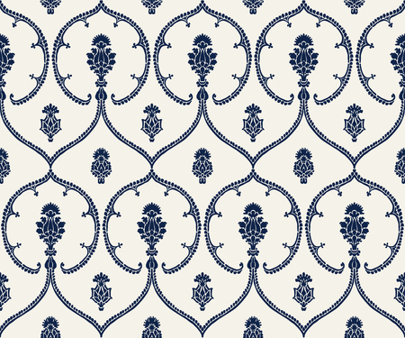 Seamless indigo dye woodblock printed ethnic pattern. Traditional European damask motif with geometric florals, navy blue on ecru background. Textile or wallpaper print.