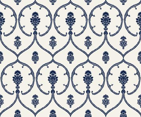 Seamless indigo dye woodblock printed ethnic pattern. Traditional European damask motif with geometric florals, navy blue on ecru background. Textile or wallpaper print.
