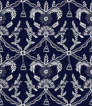 Seamless indigo dye woodblock printed ethnic damask pattern. Traditional European folk motif with birds and tassels, ecru on navy blue background. Textile or wallpaper print.