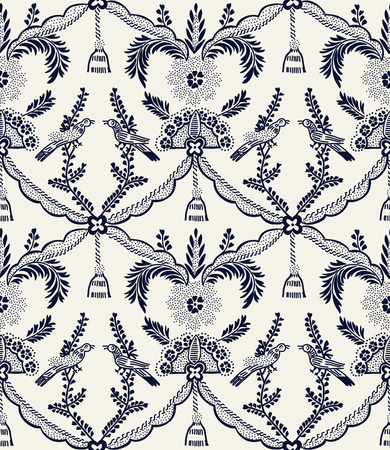 Seamless indigo dye woodblock printed ethnic damask pattern. Traditional European folk motif with birds and tassels, navy blue on ecru background. Textile or wallpaper print.