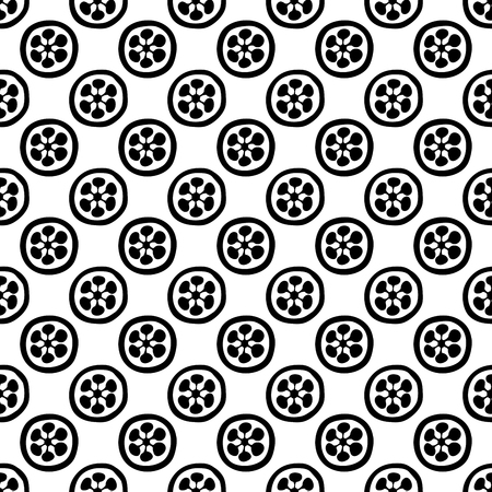 Ethnic woodblock printed seamless floral pattern, traditional oriental geometric motif with blossoms.  Black on white background. Textile design.