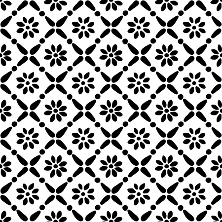 Seamless woodblock printed ethnic pattern. Vector floral geometric ornament, traditional Russian folk motif with daisy flowers and diamond print, black on white background. Illusztráció