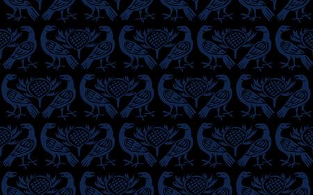 Motif ethnique de teinture indigo imprimé sur bois sans couture. Motif folklorique européen traditionnel avec corbeaux et chardons, bleu marine sur fond noir. Impression textile ou papier peint. Vecteurs