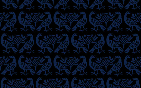 Seamless woodblock printed indigo dye ethnic pattern. Traditional European folk motif with ravens and thistles, navy blue on black background. Textile or wallpaper print.