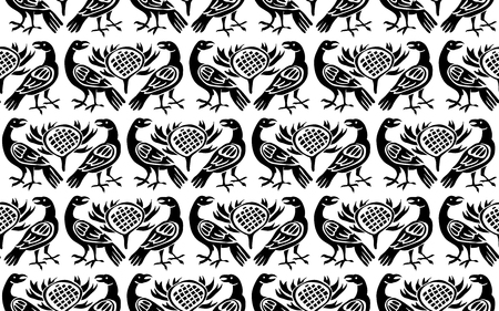 Seamless woodblock printed ethnic pattern. Traditional European folk motif with ravens and thistles, black on white background. Textile or wallpaper print.