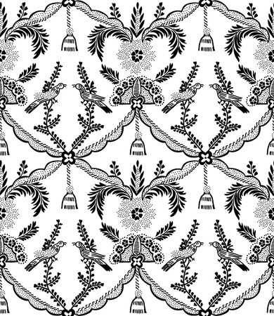 Seamless woodblock printed ethnic damask pattern. Traditional European folk motif with birds and tassels, black on white background. Textile or wallpaper print. Illustration