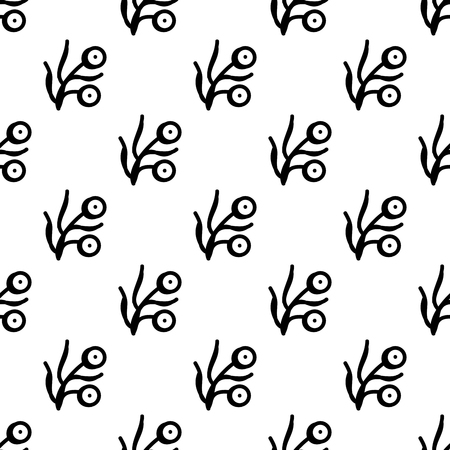 Seamless woodblock printed ethnic pattern. Traditional floral ornament for muslin fabric, black on white background. Textile design.