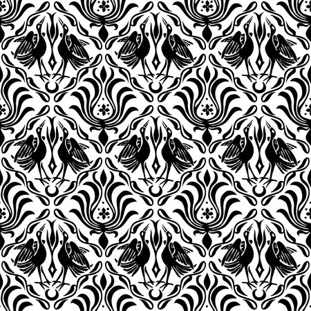 Seamless woodblock printed ethnic damask pattern. Traditional European folk motif with cranes and florals, black on white background. Textile or wallpaper print.