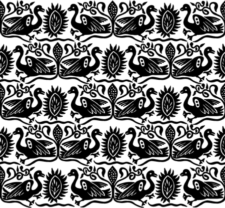 Seamless woodblock printed ethnic pattern. Traditional European folk motif with gees and floral arabesques, black  on white background. Textile or wallpaper print.