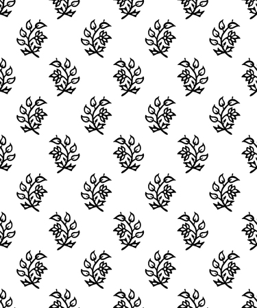 Woodblock printed seamless ethnic floral all over pattern. Traditional oriental ornament of India, flowers of Kashmir, black on white background. Textile design.