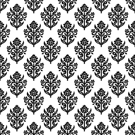 Woodblock printed seamless ethnic floral all over pattern. Traditional oriental ornament of India, lily flowers of Kashmir, black on white background. Textile design.