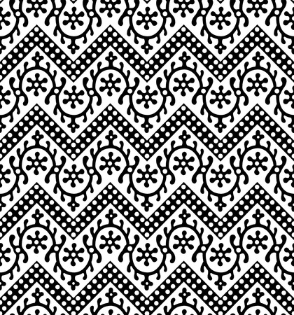 Woodblock printed seamless ethnic floral geometric pattern. Traditional oriental ornament of India Kashmir, loach with chevron motif, black on white background. Textile design.