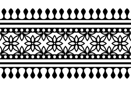 Woodblock printed seamless ethnic floral border. Traditional oriental ornament of India Kashmir, geometric flowers motif, black on white background. Textile design. Illustration
