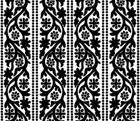 Woodblock printed seamless ethnic floral pattern. Traditional oriental ornament of India Kashmir, flowers vertical wave motif and dots, black on white background. Textile design.