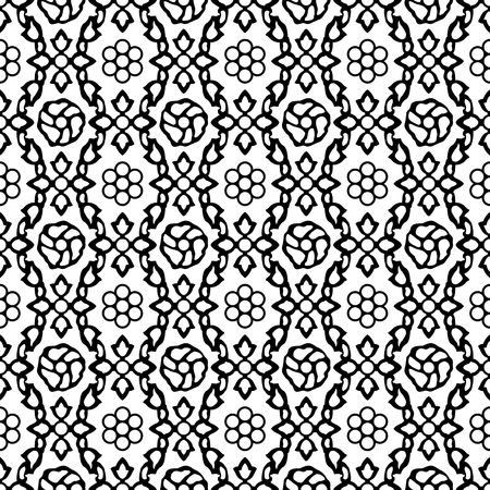 Woodblock printed seamless ethnic floral damask pattern. Traditional oriental ornament of India Kashmir, geometric flowers on ogee molding, black on white background. Textile design.