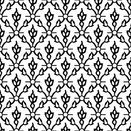 Woodblock printed seamless ethnic floral damask pattern. Traditional oriental ornament of India Kashmir, tulip flowers and leaves ogee, black on white background. Textile design.