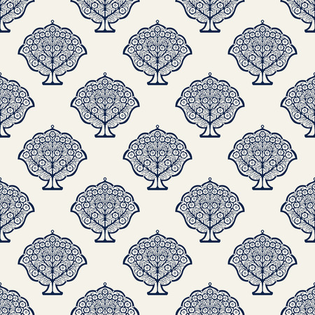 Indigo dye woodblock printed seamless ethnic floral all over pattern. Traditional oriental ornament of India, blossoming trees, navy blue on ecru background. Textile design.