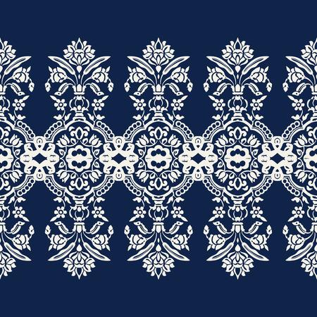 Woodblock printed indigo dye seamless ethnic floral caleidoscope geometric border. Traditional oriental ornament of India Kashmir, ecru on navy blue background. Textile design.