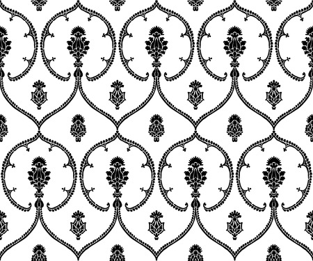 Seamless indigo dye woodblock printed ethnic pattern. Traditional European damask motif with geometric florals, black on white background. Textile or wallpaper print.