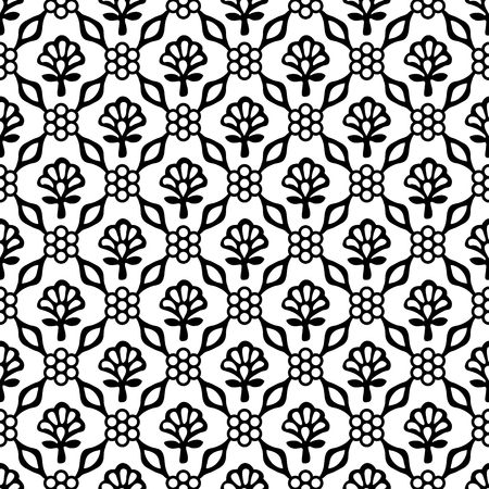 Woodblock printed seamless ethnic floral damask pattern. Traditional oriental ornament of India Kashmir, geometric flowers and leaves, black on white background. Textile design.