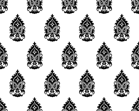 Seamless monochrome woodblock printed paisley pattern. Traditional oriental Indian ethnic ornament with double boteh, black on white background. Textile design.