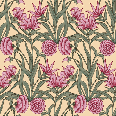 Woodblock printed ethnic floral all over seamless pattern. Traditional oriental motif of India Mogul with bouquets of pink carnations on ecru background. Textile design. Illustration