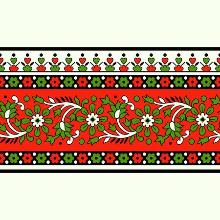 Woodblock printed seamless ethnic floral border. Traditional oriental ornament of India, meander motif with flowers, red and green  on ecru background. Textile design.  イラスト・ベクター素材