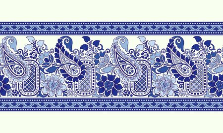 Woodblock printed indigo dye seamless ethnic floral border. Traditional oriental ornament of India, paisley and flowers motif, blue on ecru background. Textile design.