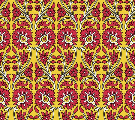 Woodblock printed seamless ethnic floral pattern. Traditional oriental ornament of India, meander motif with red  flowers on yellow background. Textile design.