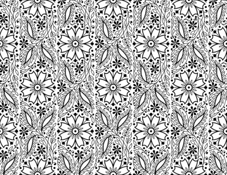 Woodblock printed monochrome seamless ethnic floral pattern. Traditional oriental wave ornament of India, elegant flowers and leaves, black on white background. Textile design. Illusztráció