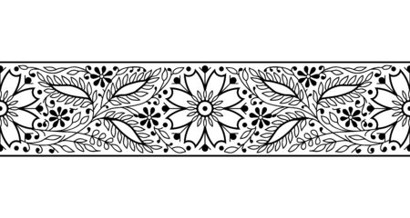 Woodblock printed monochrome seamless ethnic floral border. Traditional oriental ornament of India, elegant flowers and leaves, black on white background. Textile design.