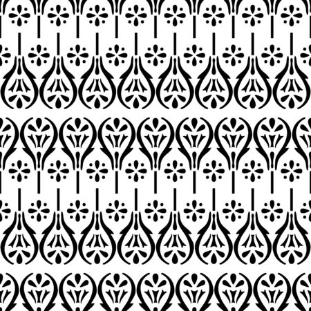 Woodblock printed monochrome seamless ethnic floral geometric pattern. Traditional oriental ornament of India, damask motif of flowers, black on white background. Textile design. Illusztráció