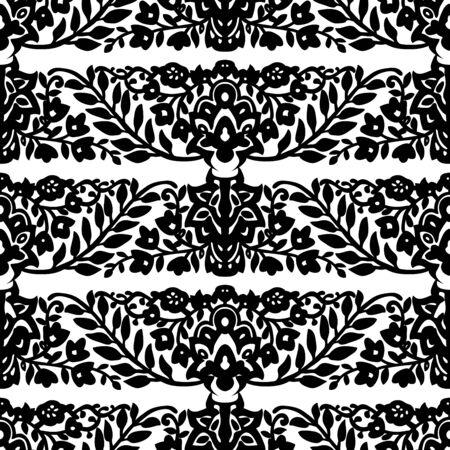Seamless woodblock printed monochrome ethnic floral pattern. Traditional oriental ornament of India, flower wave motif, black on white background. Textile design. Illusztráció
