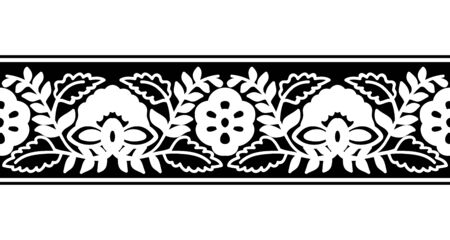Seamless woodblock printed monochrome ethnic floral border. Traditional oriental ornament of India, flower and damask wave motif, black  on white background. Textile design.