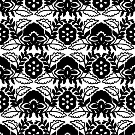 Seamless woodblock printed monochrome ethnic floral pattern. Traditional oriental ornament of India, flower and damask wave motif, black on white background. Textile design. Illusztráció