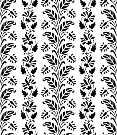 Woodblock printed monochrome seamless ethnic floral pattern. Traditional oriental ornament of India, flower garland motif in vertical stripes, black on white background. Textile design.