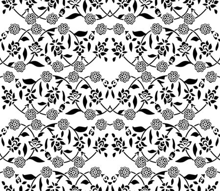 Seamless woodblock printed monochrome ethnic floral pattern. Traditional oriental ornament of India, double flower garland motif, black on white background. Textile design. Illusztráció