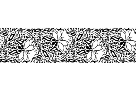 Monochrome woodblock printed seamless ethnic floral border. Traditional oriental ornament of India, garland of flowers and leaves, black on white background. Textile design.