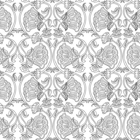 Woodblock printed monochrome seamless ethnic floral pattern. Traditional oriental wave ornament of India, wave line of flowers and leaves, black on white background. Textile design. 向量圖像