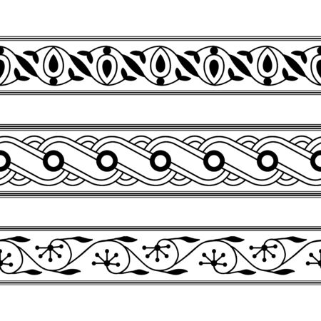 Set of 3 seamless woodblock printed monochrome ethnic floral borders. Traditional oriental ornament of North India, flower garland and wave motifs, black on white background. Textile design. 向量圖像