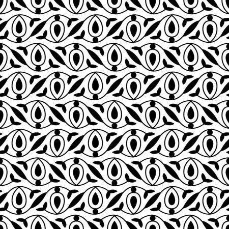 Seamless woodblock printed monochrome ethnic floral pattern. Traditional oriental ornament of North India, flower garland wave motif, black on white background. Textile design.