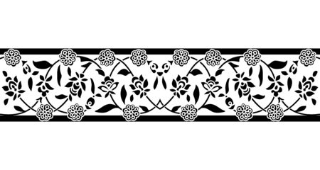 Seamless woodblock printed monochrome ethnic floral border. Traditional oriental ornament of India, double flower garland motif, black on white background. Textile design.