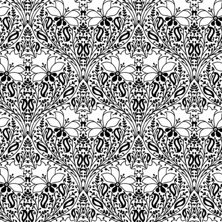 Monochrome woodblock printed seamless ethnic floral pattern. Traditional oriental ornament of India, damask of flowers and leaves, black on white background. Textile design.