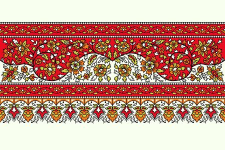 Woodblock printed seamless floral ethnic border. Traditional oriental ornament of India, flower garland motif, orange, red and green tones on ecru background. Textile design.