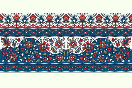 Woodblock printed indigo dye seamless floral ethnic border. Traditional oriental ornament of India, flower garland motif, blue, red and gold tones on ecru background. Textile design. 向量圖像